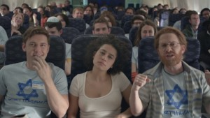 In this episode of Broad City, the girls are forced to improvise when Abbi gets her period on a plane and doesn't have access to a tampon.
