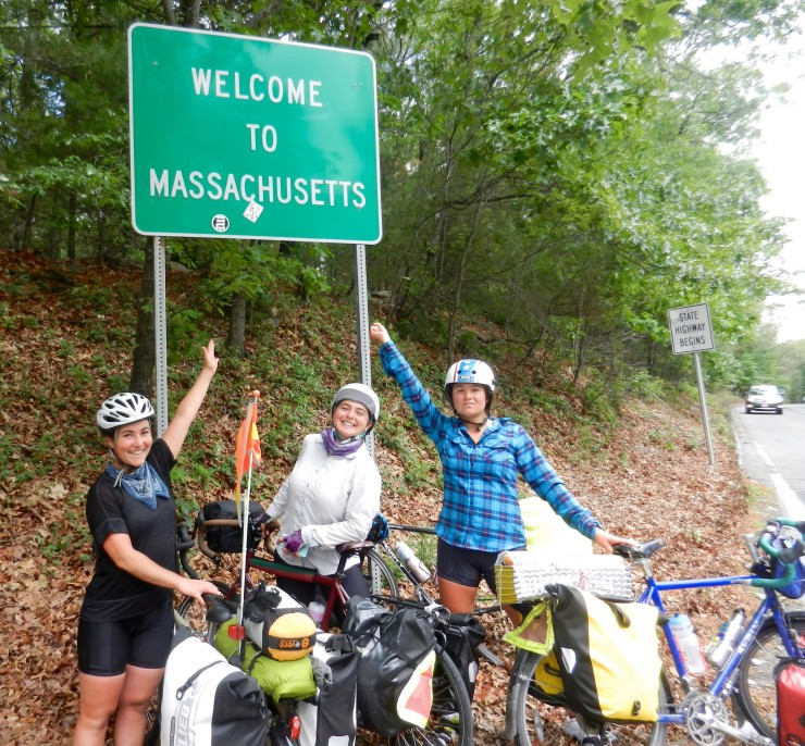 Spokes-women from Sustainable Cycles, seen here en route for Boston in 2015, are about to set out for Atlanta to attend SMCR's 2017 Conference.
